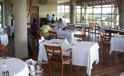 The Elephant Corridor Sri Lanka dining room with large panoramic windows