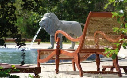 The Elephant Corridor Sri Lanka pool lounger outdoor pool lion fountain statue