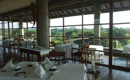 The Elephant Corridor Sri Lanka restaurant views indoor dining room with panoramic views