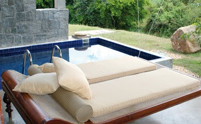The Elephant Corridor Sri Lanka royal suite outdoor plunge pool lounger
