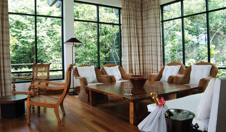 Heritance Kandalama Sri Lanka luxury suite sitting room large windows champagne bucket