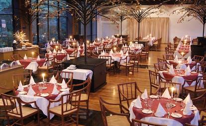 Heritance Kandalama Sri Lanka restaurant indoor dining room large windows ornamental trees