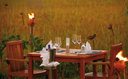 Jetwing Vil Uyana outdoor dining amongst the paddy fields