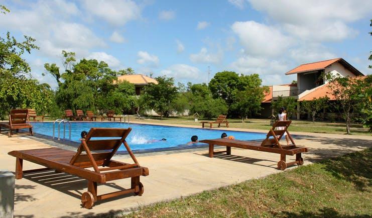 Kassapa Lion Rock Sri Lanka pool loungers wooden loungers outdoor
