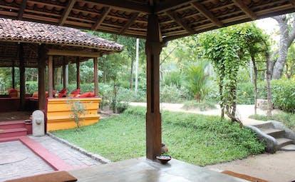 Ulpotha Sri Lanka dining pavilion hut outside garden