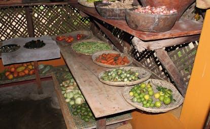 Ulpotha Sri Lanka kitchen fresh platters of fresh fruits and vegetables