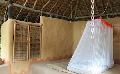 Ulpotha Sri Lanka sleeping hut sleeping mat with mosquito net