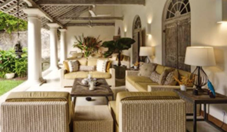 20 Middle Street Sri Lanka veranda outdoor covered seating area sofas overlooking gardens