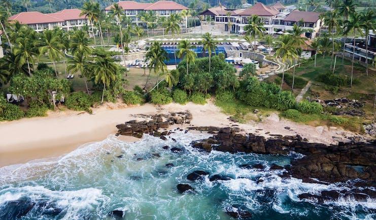 Anantara Peace Haven Tangalle Sri Lanka aerial shot of resort buildings pool beach