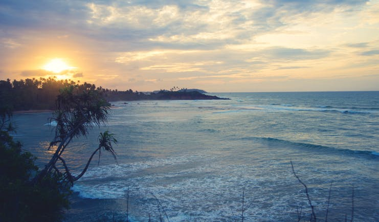 Cape Weligama Sri Lanka sea shot of the ocean and coast line