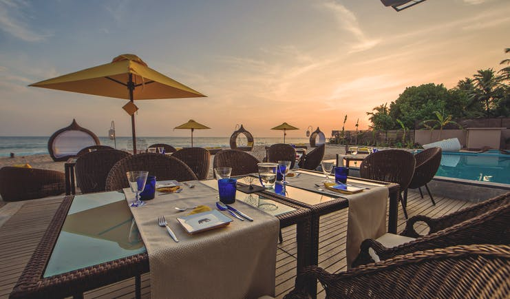 Casa Colombo Mirissa Sri Lanka restaurant terrace outdoor dining on beachfront