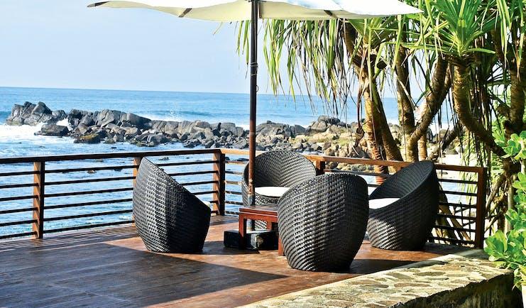 Elysium Villa Sri Lanka beach terrace outdoor seating area overlooking sea