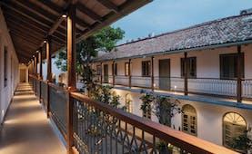 Fort Bazaar Sri Lanka hotel building corridors trees