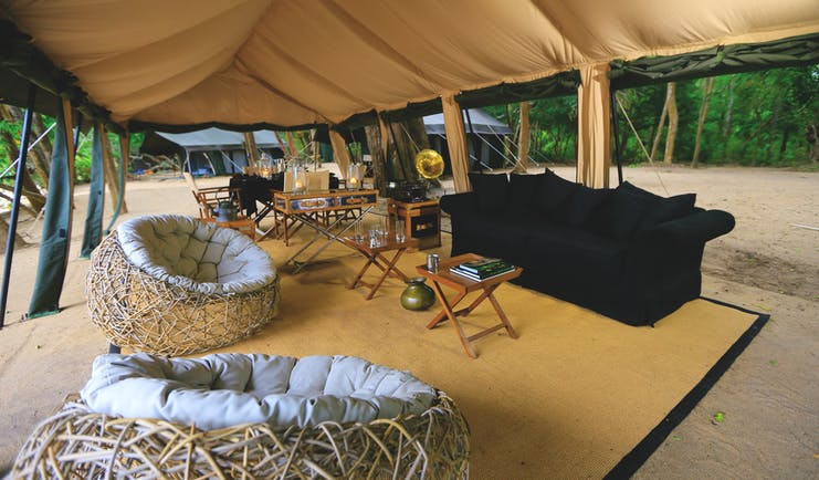 Leopard Trails lounge tent with sofa, bean bag chairs