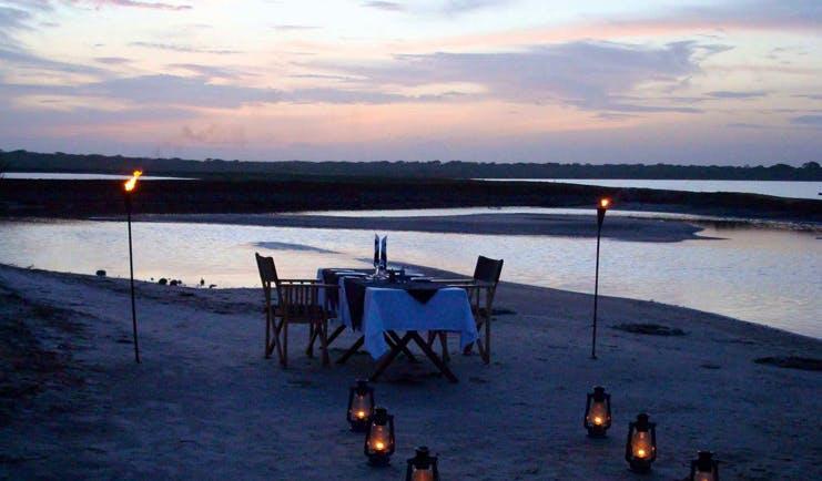 Mahoora Luxury Safari Camps Sri Lanka romantic dinner for two overlooking lake