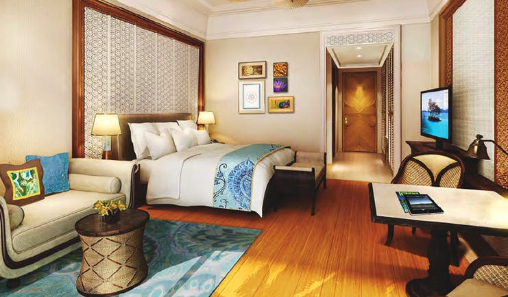 Shangri La Hambantota Sri Lanka deluxe room bed sofa bright modern decor