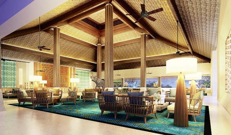 Shangri La Hambantota Sri Lanka lounge communal seating area traditional décor