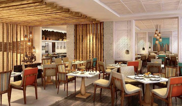 Shangri La Hambantota Sri Lanka restaurant indoor dining area modern bright décor
