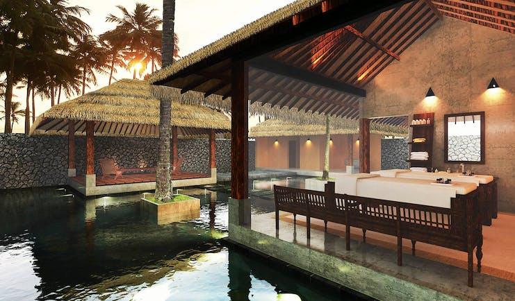 Shangri La Hambantota Sri Lanka spa pools massage tables trees