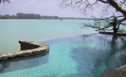 Taprobane Island Sri Lanka infinity pool with sea view and trees