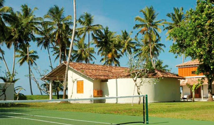 Tennis court with palm trees in the distance