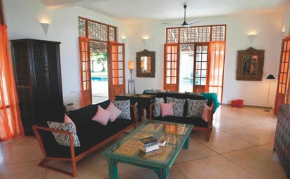 Frangipani Tree Sri Lanka villa lounge sofas coffee table modern décor
