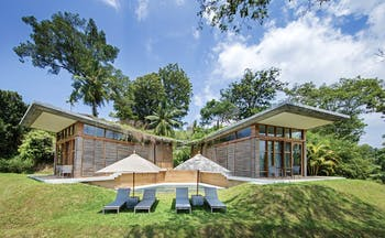 Tri Lanka Sri Lanka villa exterior pool sun loungers umbrellas
