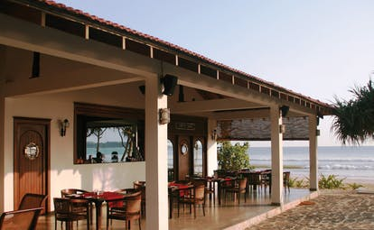 Weligama Bay Resort Sri Lanka outdoor dining terrace with ocean view