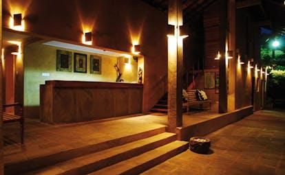 Ayurveda Pavilions Sri Lanka entrance lobby at night