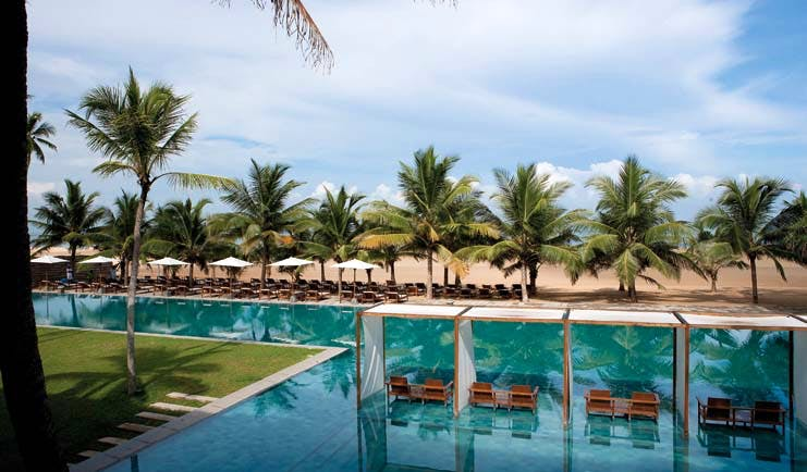 Jetwing Blue Sri Lanka poolside palm trees umbrellas sun loungers