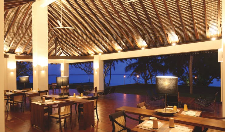 Jetwing Lagoon Sri Lanka restaurant covered outdoor dining views over water