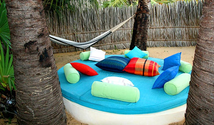 Palagama Beach garden seating, hammock, big round garden bed with pillows and cushions