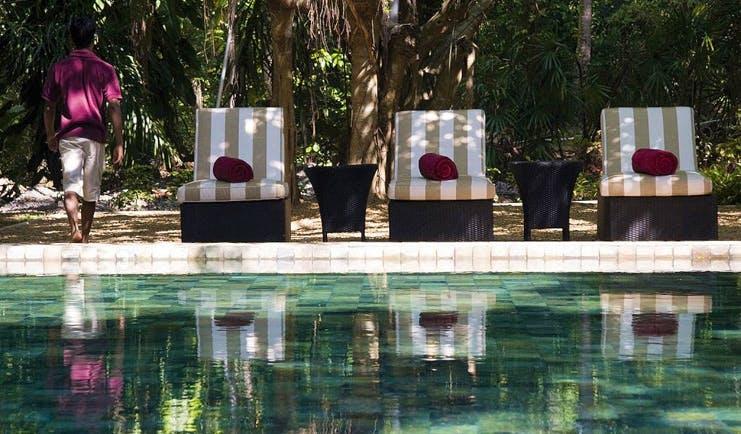 The Wallawwa Sri Lanka loungers by outdoor pool