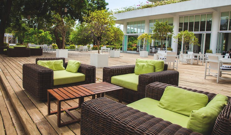 Anilana Nilaveli terrace chairs tables outdoor seating trees