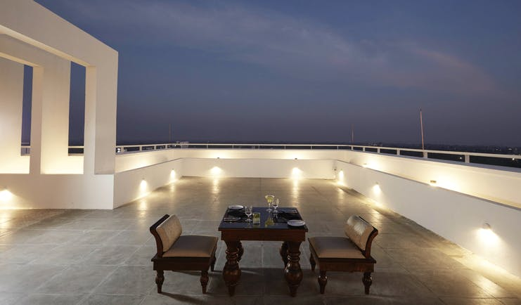 Jetwing Jaffna Sri Lanka rooftop terrace table set for two