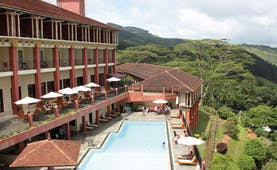Amaya Hills Sri Lanka hotel pool aerial view of hotel and pool with balconies and loungers