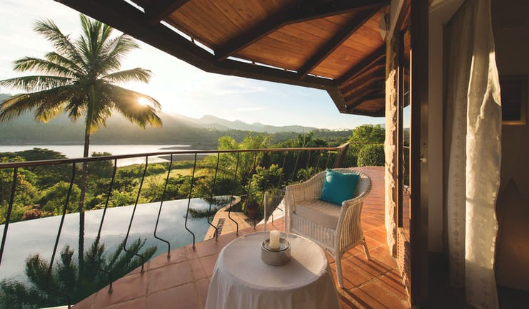 Bougainvillea Retreat Sri Lanka balcony outdoor seating overlooking pool countryside views