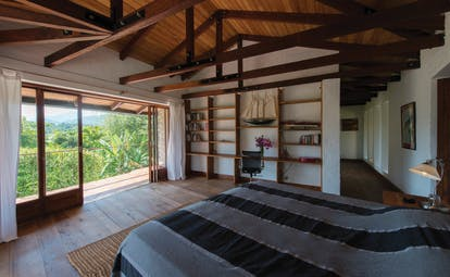 Bougainvillea Retreat Sri Lanka guestroom bed elegant décor access to private balcony