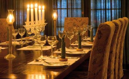 Ceylon Tea Trail Sri Lanka restaurant candelabra dining table
