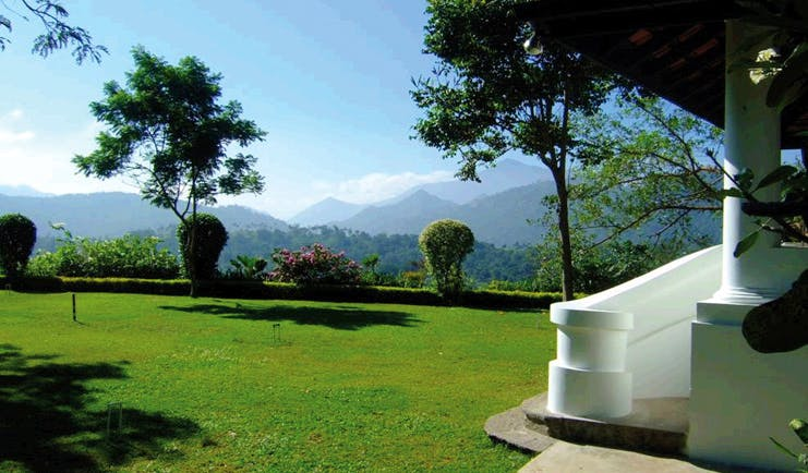 Clingendael Sri Lanka garden croquet lawn view of mountain
