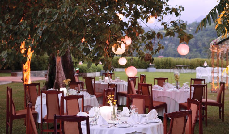 Earl's Regency Sri Lanka outdoor dining tables and chairs light features fire torches