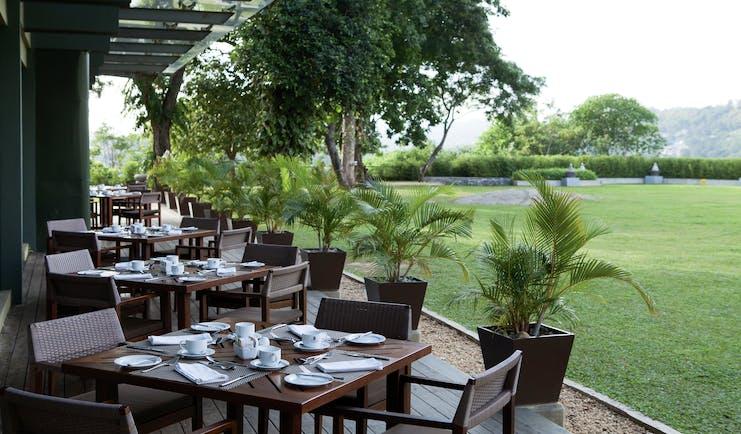 Earl's Regency Sri Lanka restaurant terrace outdoor dining area overlooking lawns