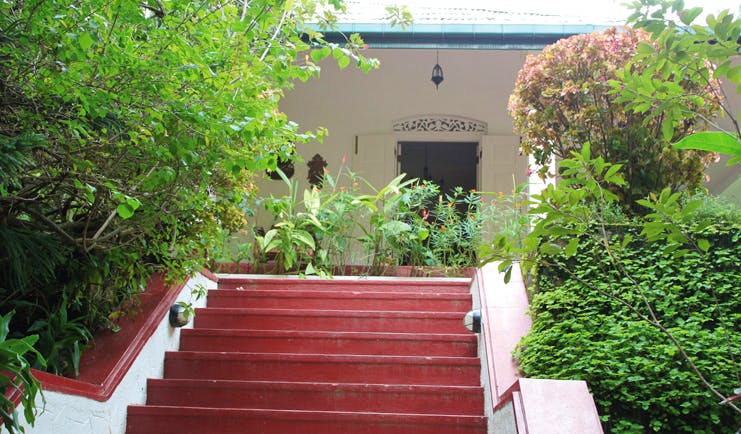 Ellerton Sri Lanka entrance steps plants carved vents