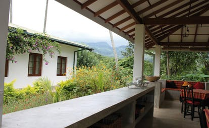 Ellerton Sri Lanka outdoor dining room garden and mountain view