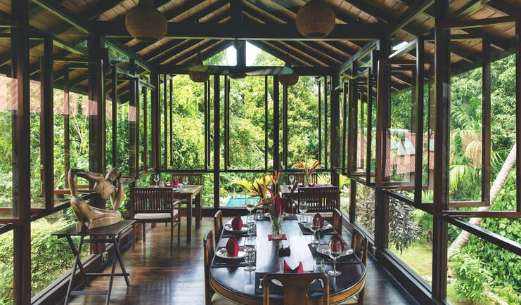 Rosyth Estate House Sri Lanka restaurant indoor dining area panoramic views of rainforest