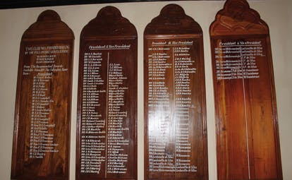 The Hill Club Sri Lanka lounge club presidents list of names on wood plaques