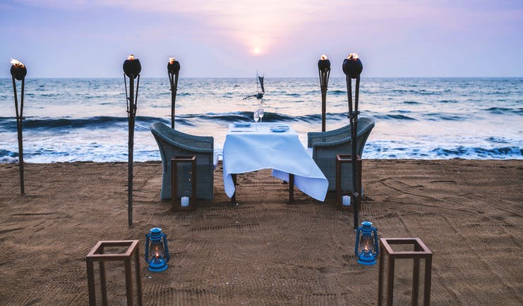 Anantara Kalutara Sri Lanka beach dining romantic dinner fire torches