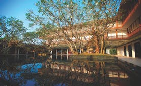 Bentota Beach Sri Lanka exterior hotel building water feature trees