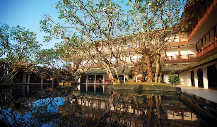 Bentota Beach Sri Lanka exterior hotel building water feature trees