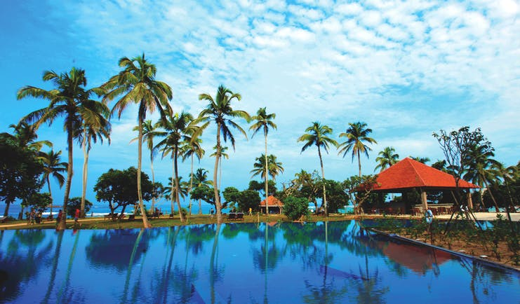 Hikka Tranz Sri Lanka pool palm trees pool bar sea in background